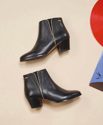 Boots en cuir liseret doré