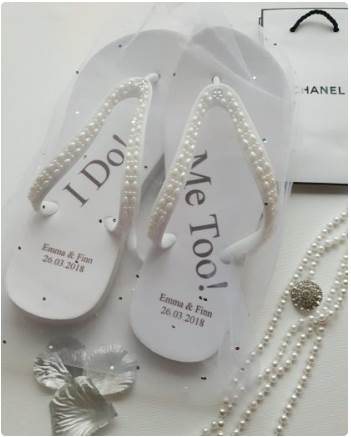 Beachy Wedding Flip Flops