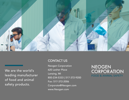 Graphic Design - Neogen Product Brochure - Tri-Fold Design (Page 5 – Interior Flap, Page 6 - Back, Page 1 - Cover)