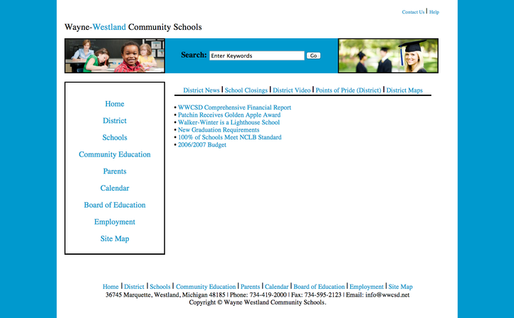 Website Design - Wayne/Westland Community Schools