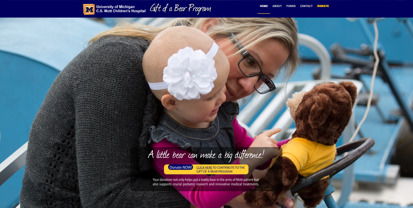 Graphic Design - C.S. Mott Teddy Bear Campaign Website Photo (Homepage Transitional Image)