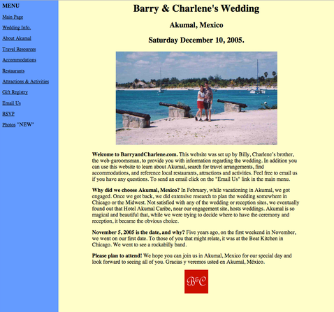 Website Design - Barry & Charlene's Wedding