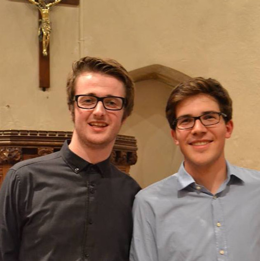 Jakob and Matthew at Thornage Church