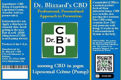 Dr. B's CBD 1000mg Liposomal Creme in 30gm Pump