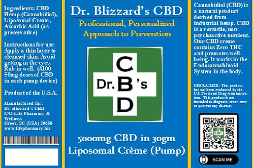 Dr. B's CBD 5000mg Liposomal Creme in 30gm Pump