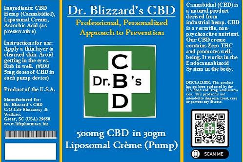 Dr. B's CBD 500mg Liposomal Creme in 30gm Pump
