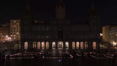 Time Lapse de la Hora del Planeta, año 2021, en la Plaza de María Pita (A Coruña)