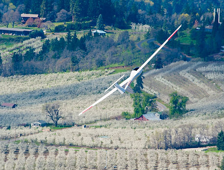Glider soaring over orchards in blossom in the Hood River Valley