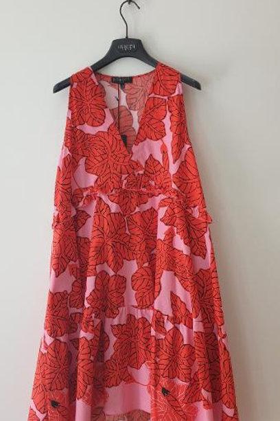 Robe sans manches rouge et rose TRICOT CHIC