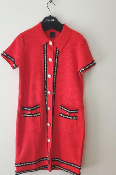 Robe mailles rouge boutonnée PINKO