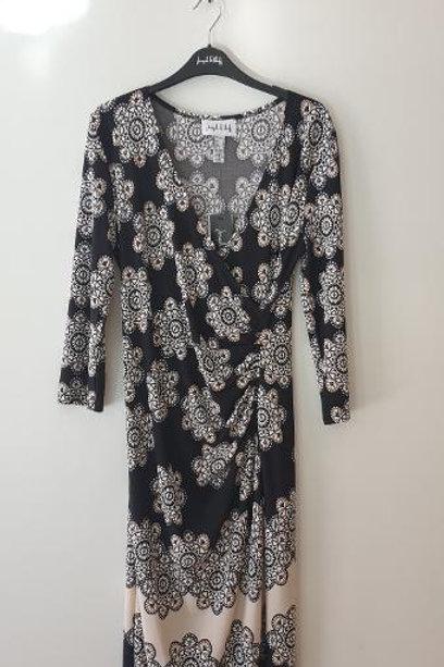 Robe fleurs noire et beige RIBKOFF
