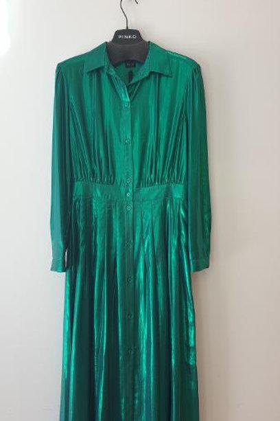 Robe longue chemisier vert lamé PINKO