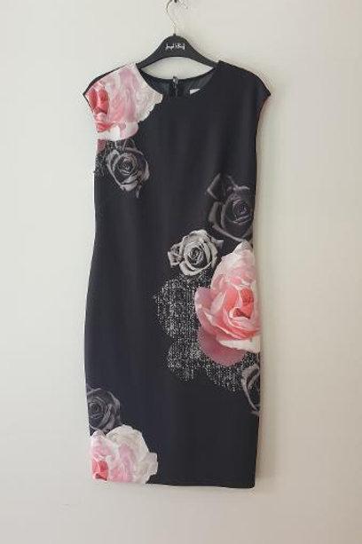 Robe noire à fleurs Joseph RIBKOFF sans manches