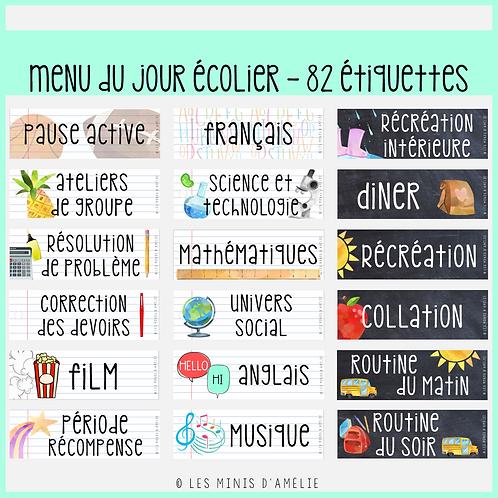 Affichage de classe complet - Écolier