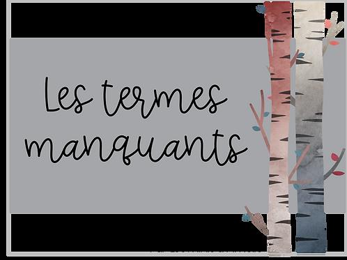 Cartes à tâches - Les termes manquants (4e année)
