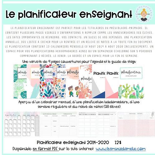 Planificateur enseignant 2019-2020 (5 périodes)