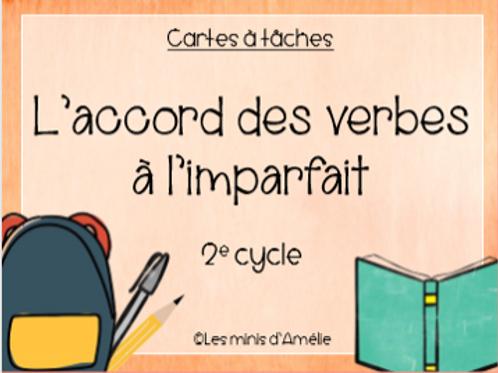 Cartes à tâches - L'accord des verbes à l'imparfait - 2e cycle