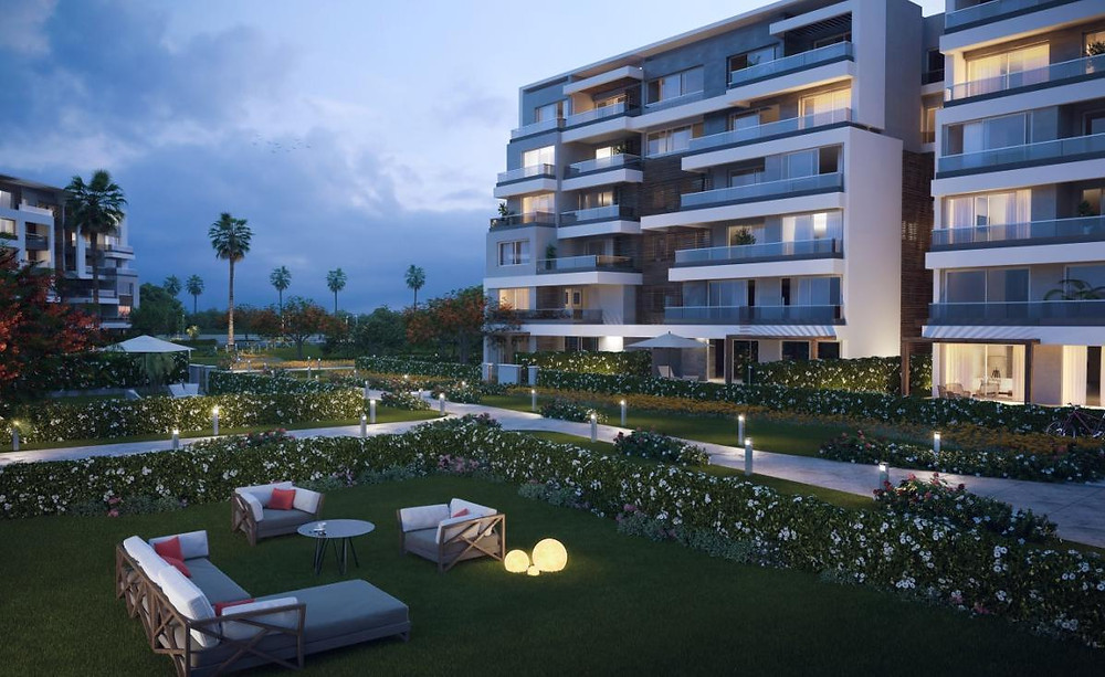 Residential building renders in Capital Gardens New Cairo