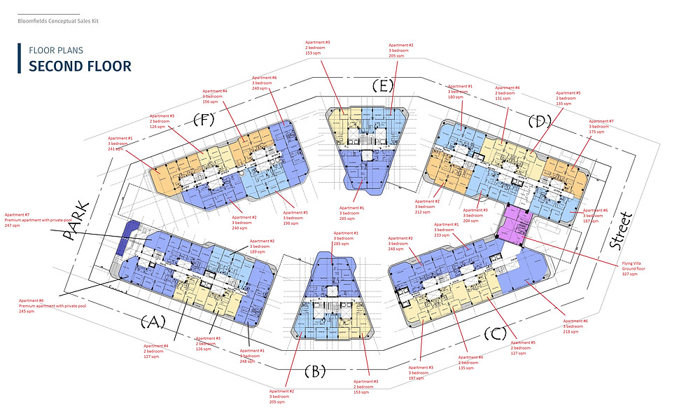 Floor plans for the second floor in Bloomfields in Mostakbal City by Tatweer Misr