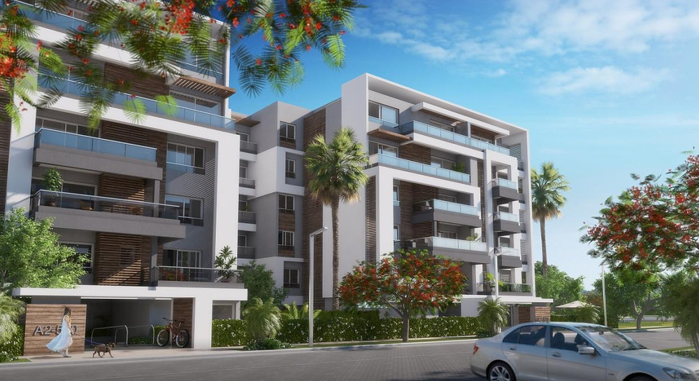 Residential building renders in Capital Gardens, New Cairo