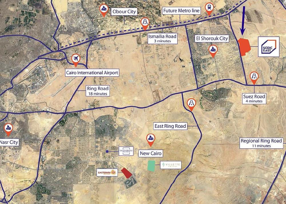Location of SODIC East, New Heliopolis, East Cairo