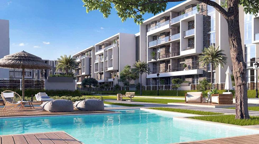 apartment building architecture in El Patio Oro New Cairo by La Vista Developments