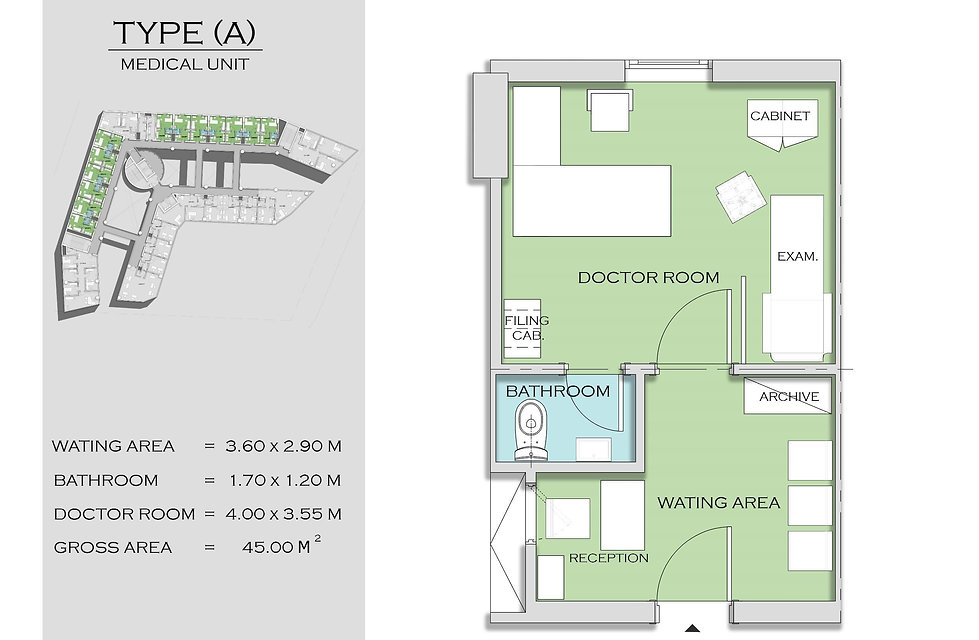 floor plan for medical unit in Aurora Tower by Doja Developments in the new capital