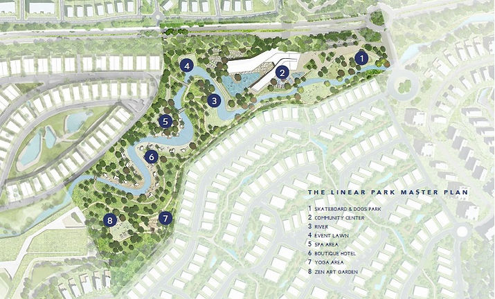 The Linear Park Master Plan inside The Quayside Neighborhood