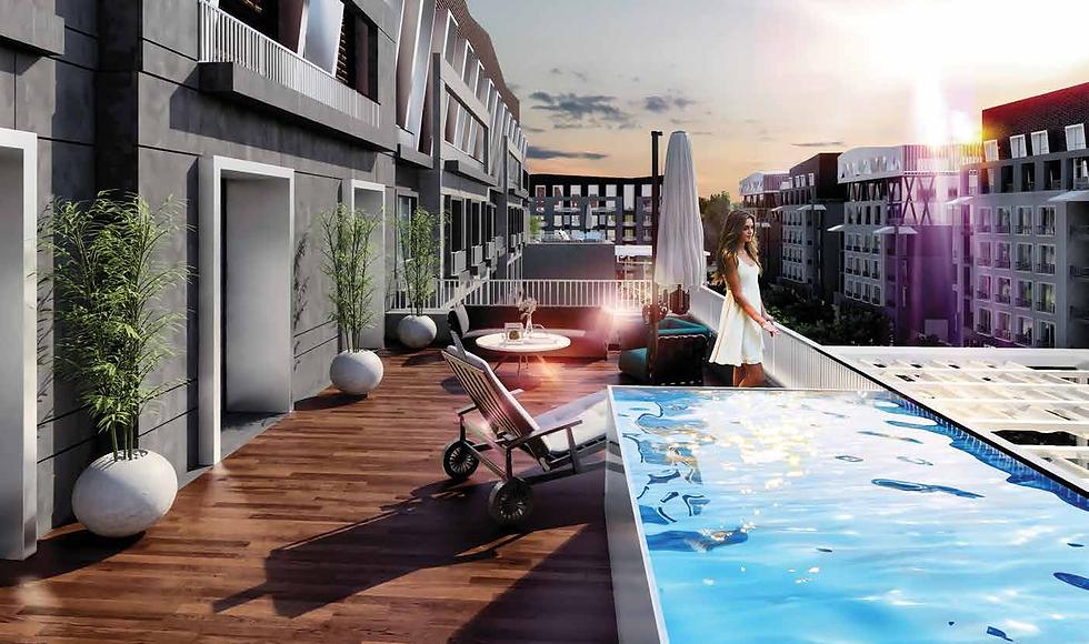 The terraces in Park Lane Apartments
