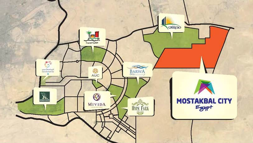 Mostakbal City location in East Cairo map