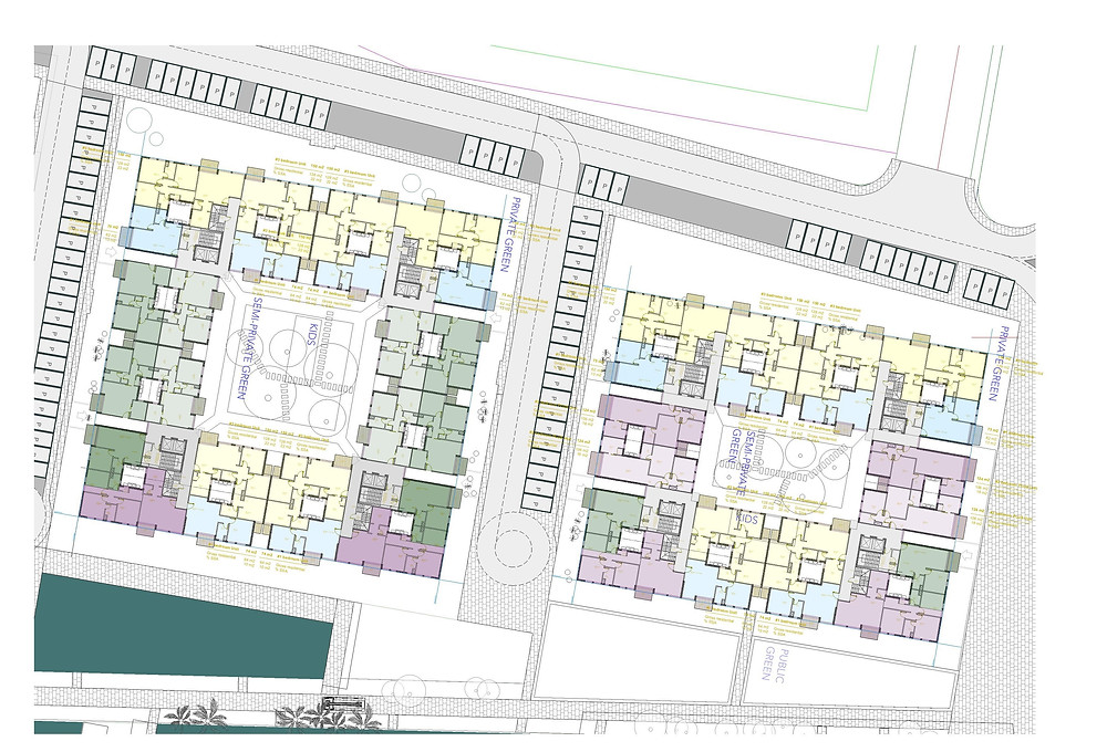 Floor plans for down town area in Bloomfields in Mostakbal City by Tatweer Misr