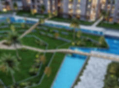 Green landscape and water features in Fera Residences