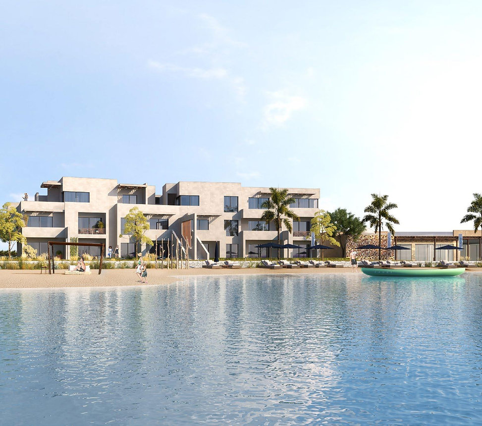 apartment buildings overlooking the lagoon