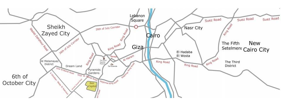 Location of Sun Capital West Cairo Egypt