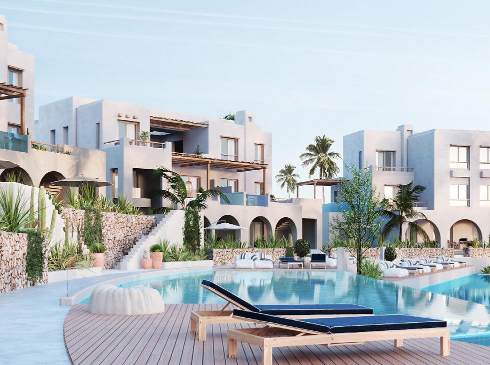 buildings overlooking swimming pools in Topio