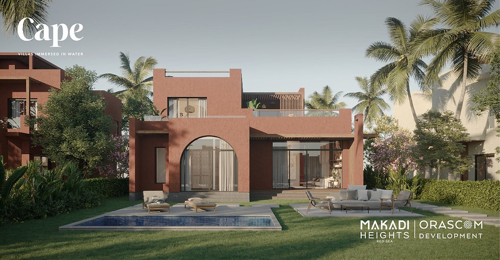 Renders for the back garden of a standalone villa in Cape Makadi Heights