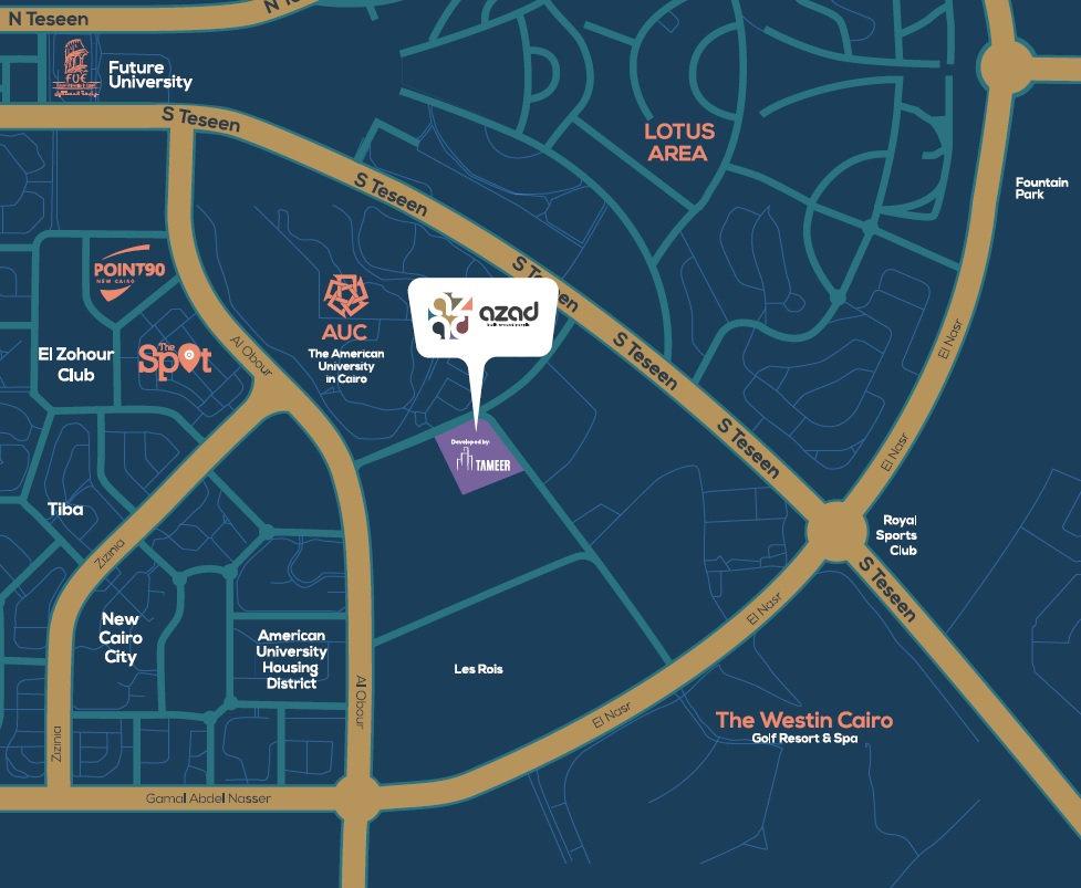 Location of Azad New Cairo