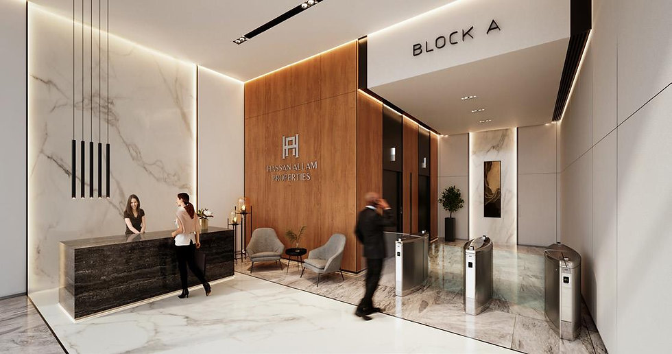 entrance lobby of office building