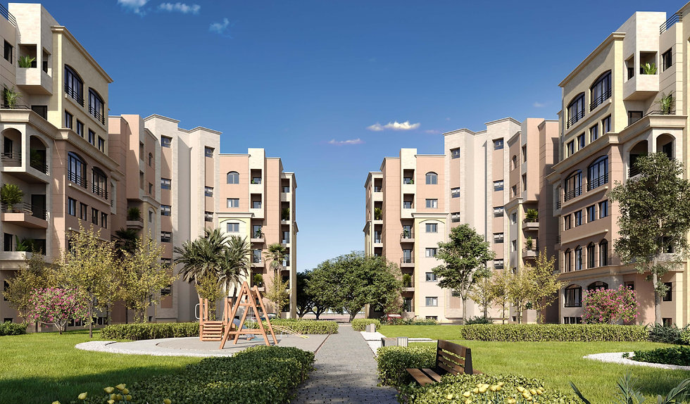 Building architecture and landscape in Al Maqsad Residences