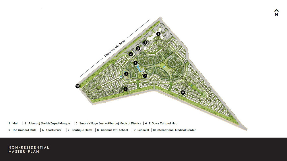 Alburouj Master plan with non-residential amenities numbered