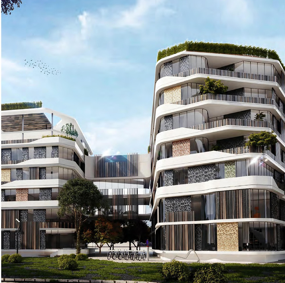 Exterior building design for Bloomfields in Mostakbal City by Tatweer Misr