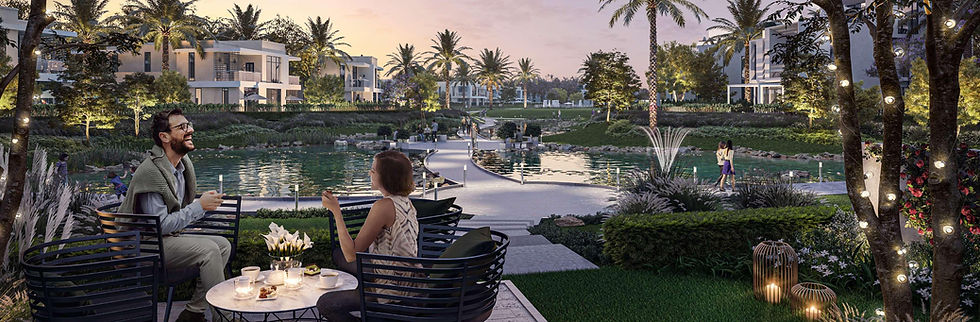 landscape and water features in Emaar's Cairo Gate project