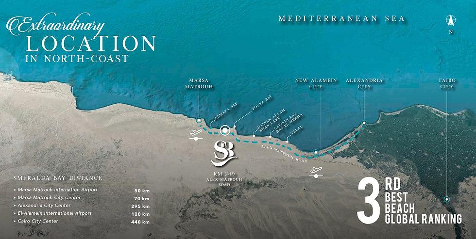 Location of Smeralda Bay in North Coast.