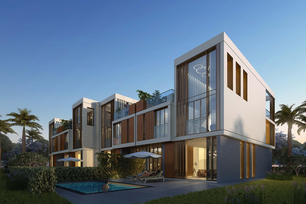 exterior render for townhouses in the City of Odyssia
