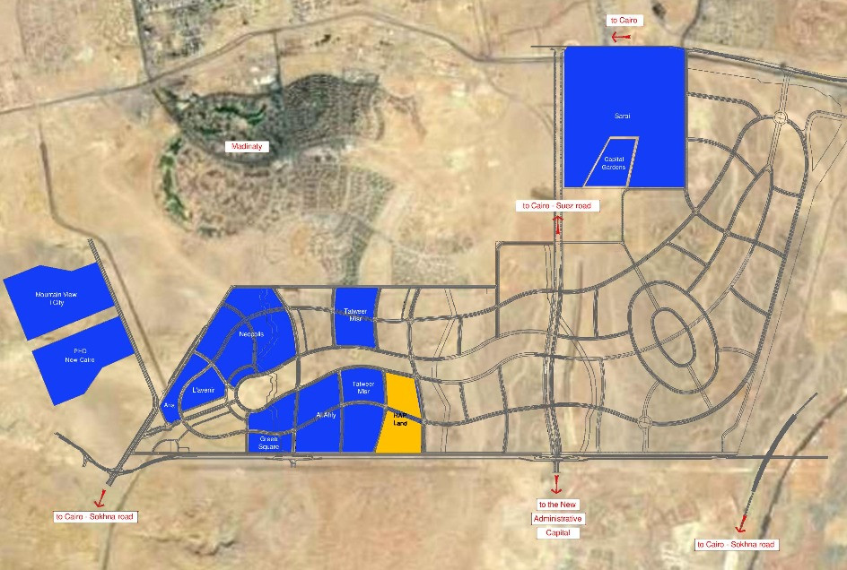 Mostakbal CIty Master Plan with development locations