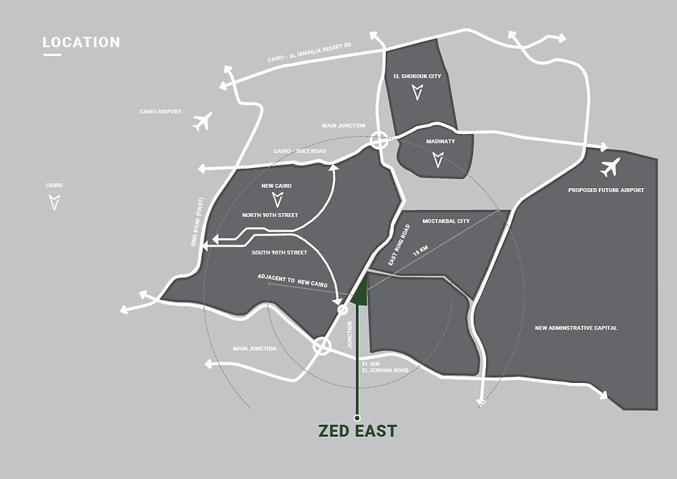 Location of Zed East in New Cairo