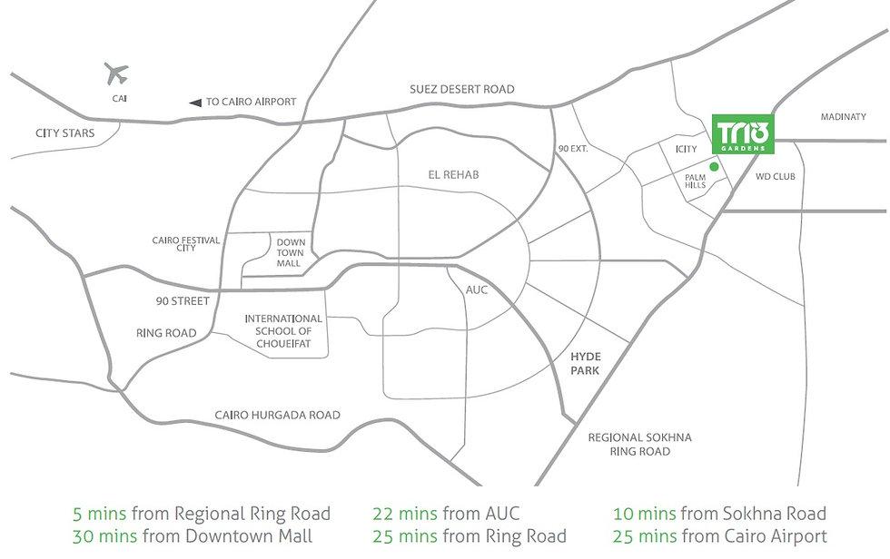 Location of Trio Gardens New Cairo