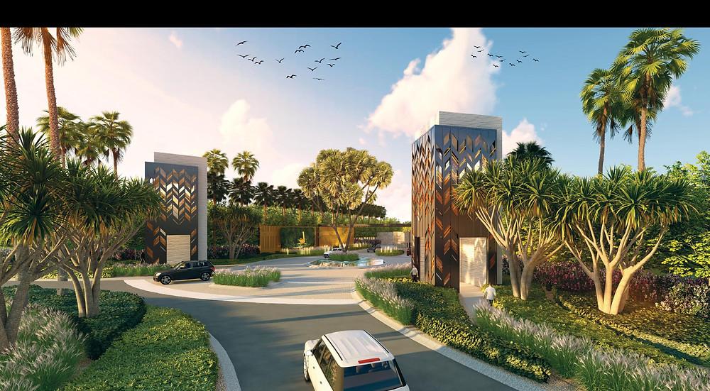Gated entrance to Swanlake Residences New Cairo