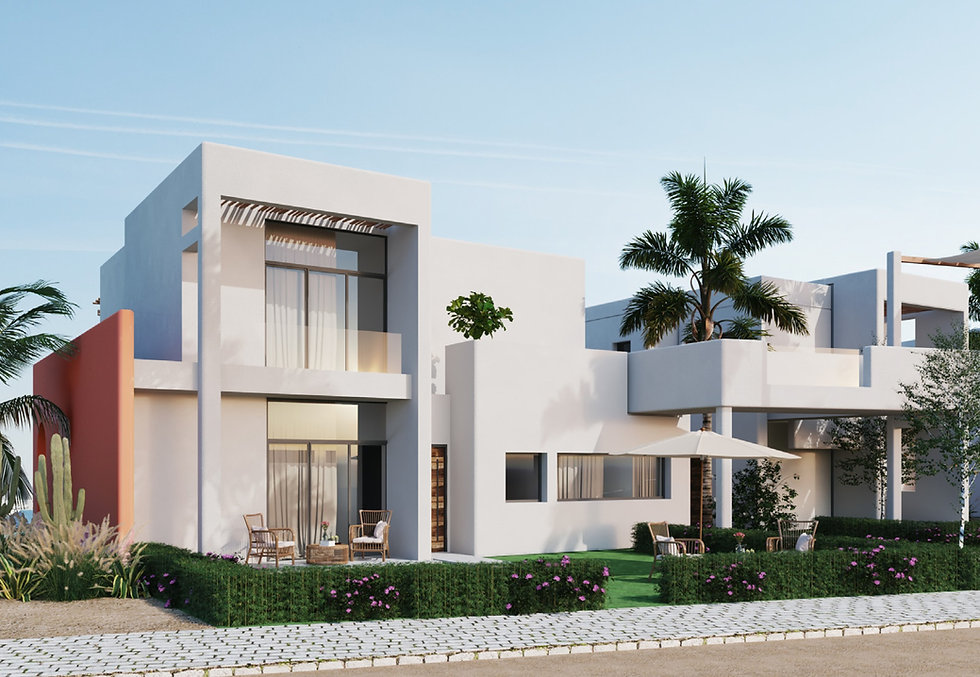 back view of floating chalet in Topio Makadi Heights