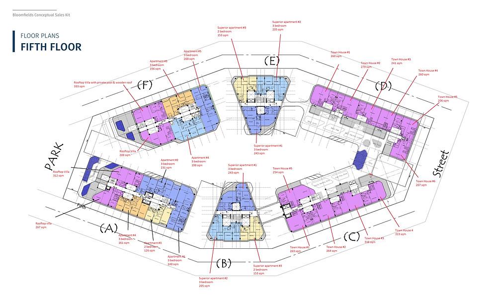 Floor plans for fifth floor in Bloomfields in Mostakbal City by Tatweer Misr